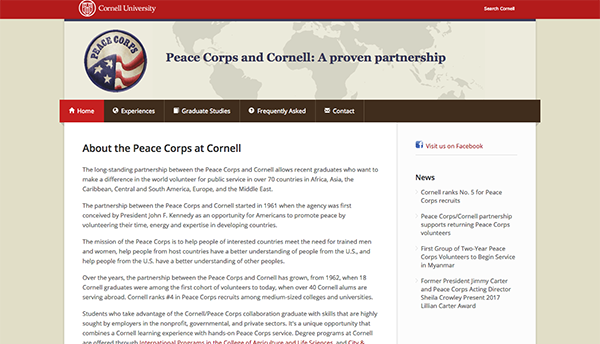 Peace Corps at Cornell website screenshot
